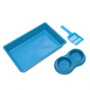 Kit Higiênico para Gatos - Bandeja de Areia + Comedouro + Bebedouro + Pá - Azul