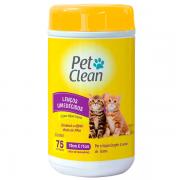 Lenço Umedecido para Gatos Pet Clean - 75 Unidades