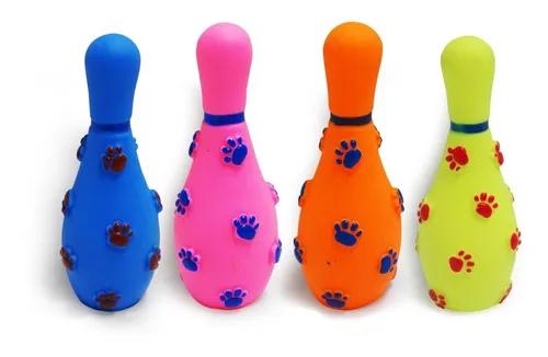 Brinquedo Mordedor Sonoro de Vinil para Cães Pino de Boliche - Cores Sortidas