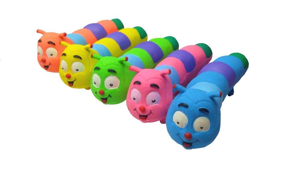 Brinquedo Mordedor Sonoro Macio Látex - Centopéia Kika Cores Sortidas