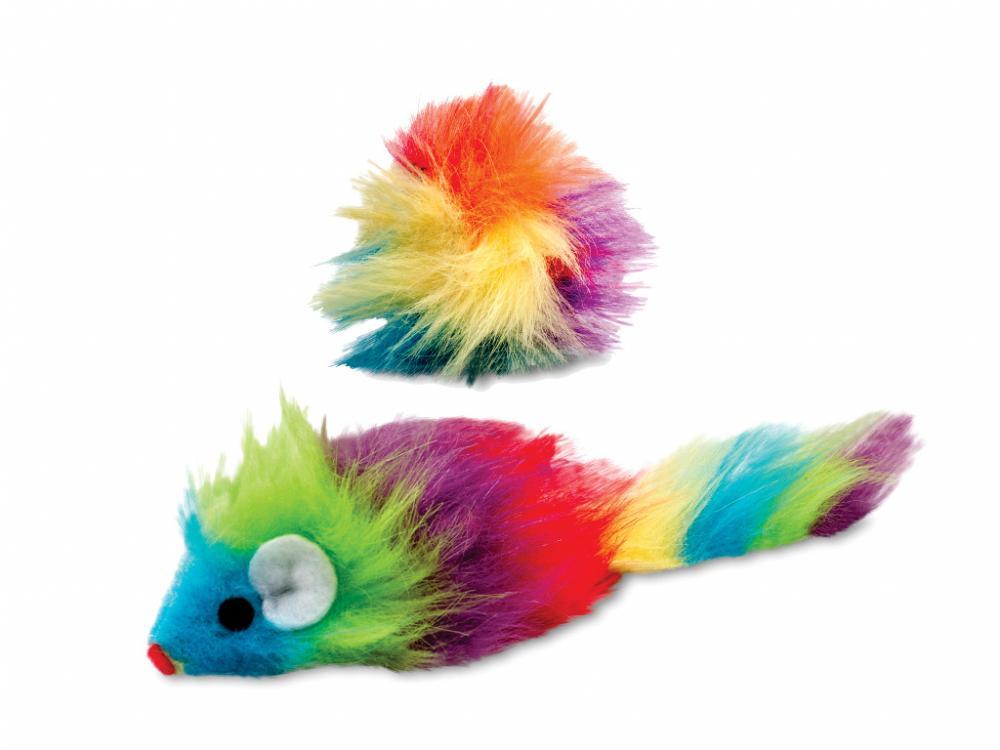 Brinquedo para Gatos Ratinho Arco Íris de Pelúcia - 20 cm