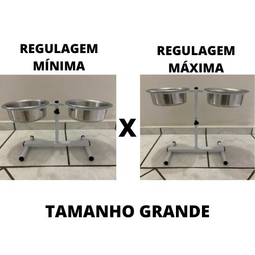 Comedouro Duplo Regulável de Alumínio para Cachorro