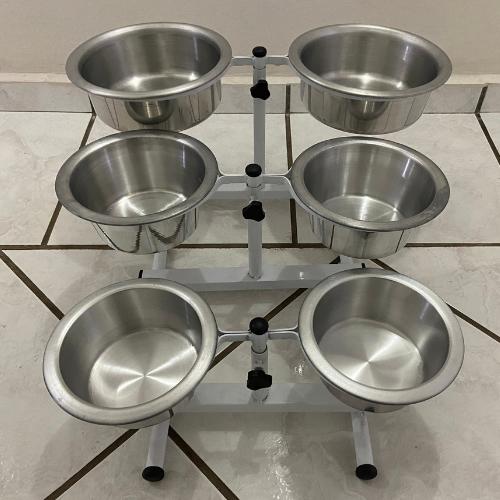 Comedouro Duplo Regulável de Alumínio para Cães