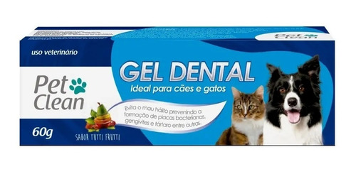 Gel Dental para Cães e Gatos Pet Clean - 60 g - Sabor Tutti Frutti