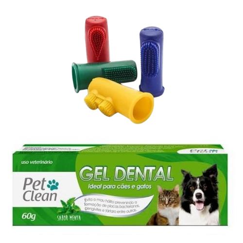 Kit Escova Dedeira + Creme Dental para Cães e Gatos - 60 g - Sabor Menta
