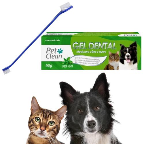 Kit Escova Dental Cachorro e Gato Dupla + Creme Menta Pet Clean 60g