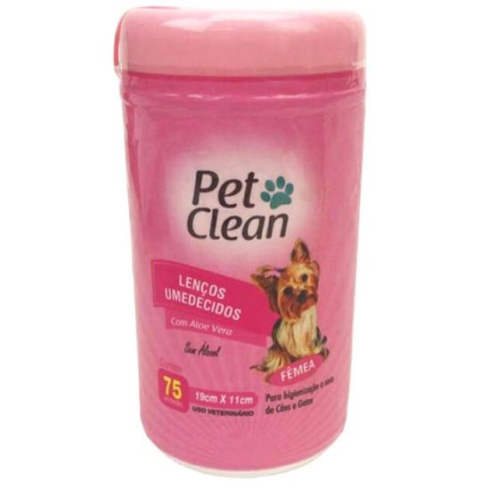 Lenço Umedecido para Cães e Gatos Pet Clean - Fêmeas - 75 Unidades