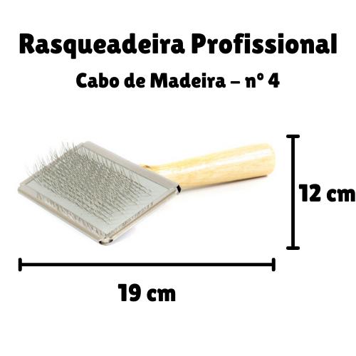Rasqueadeira Profissional para Cães Cabo de Madeira - Grande