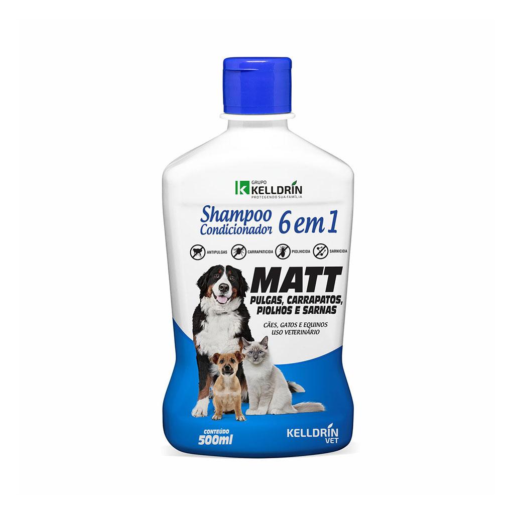 Shampoo e Condicionador 6 em 1 Kelldrin para Cães e Gatos - Antipulgas e Carrapatos - 500 ml