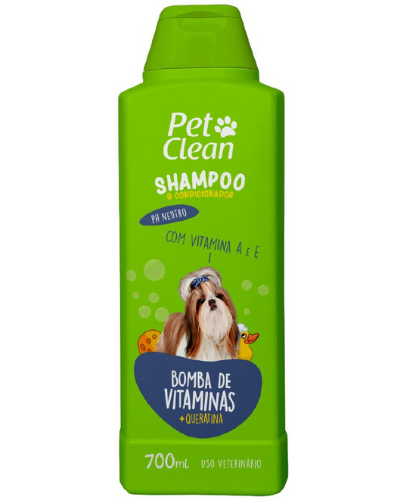 Shampoo e Condicionador para Cães e Gatos Pet Clean - Bomba de Vitaminas - 700 ml