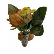 Porta guardanapo buquê de rosas laranja