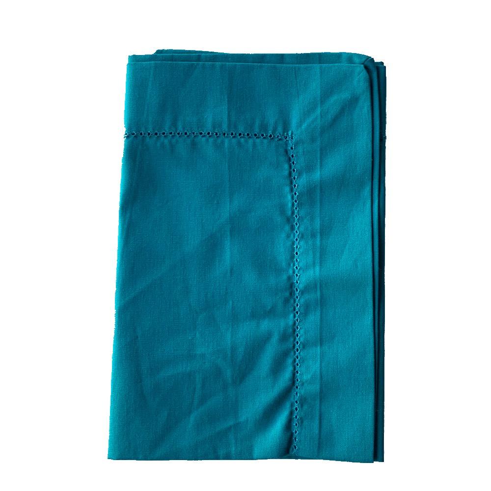 Guardanapo de algodão verde com bainha aberta