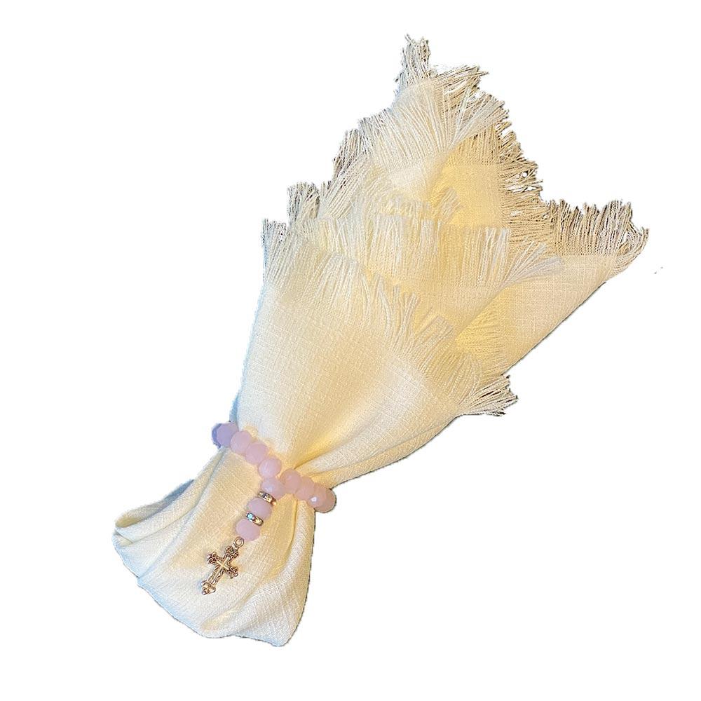 Guardanapo de linho off-white com franja