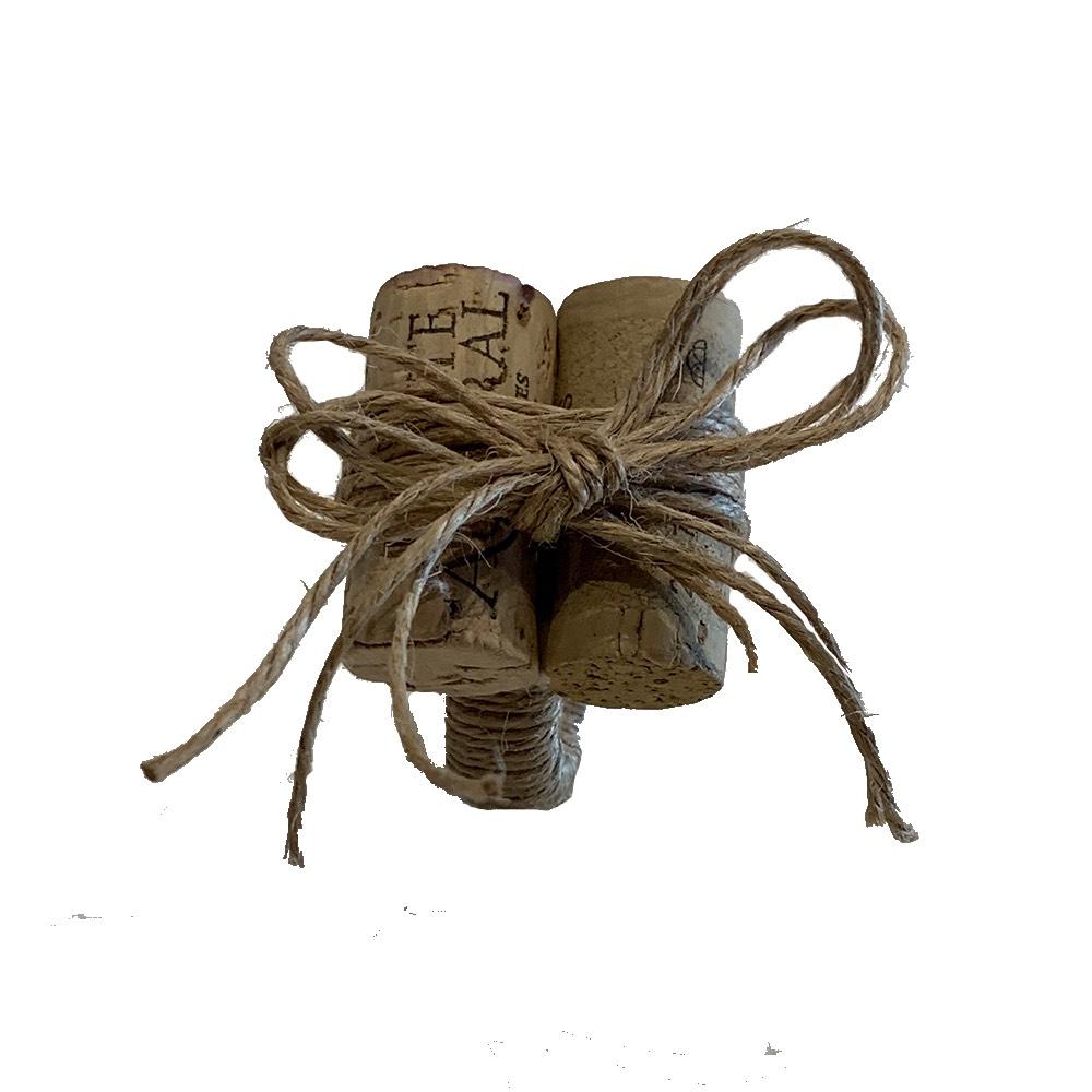 Porta guardanapo de rolha de vinho com sisal