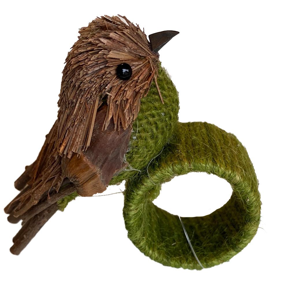 Porta guardanapo pássaro de palha com linha verde