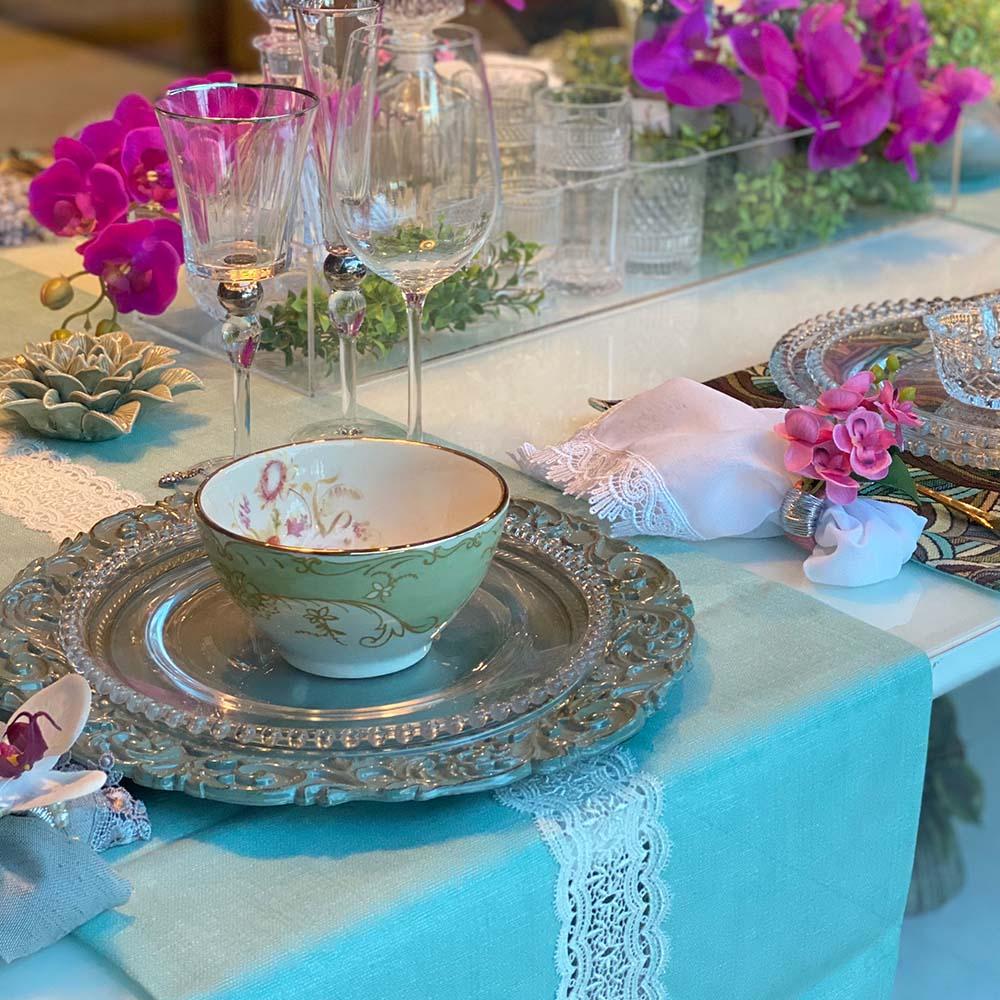 Trilho de mesa de veludo com guippiur 'Tiffany'