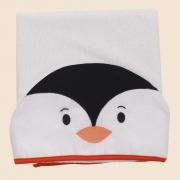 Toalha De Banho Com Capuz Bichos Pinguim Laranja