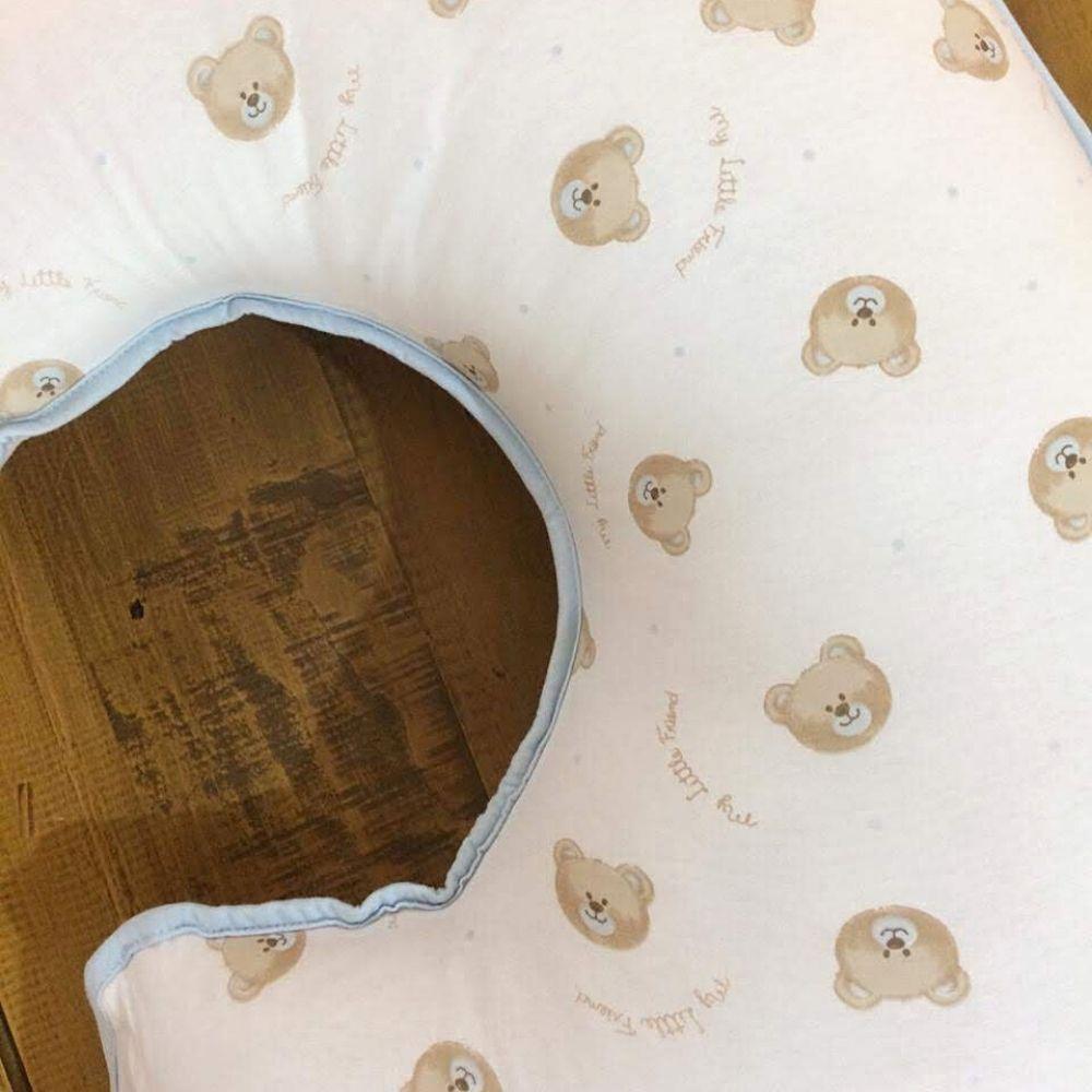 Almofada Para Amamentação Com Capa Malha Teddy Azul