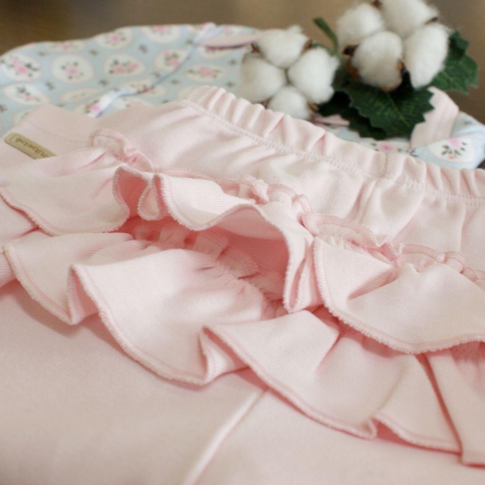 Conjunto Babadinho 3 Peças Floral Rosa