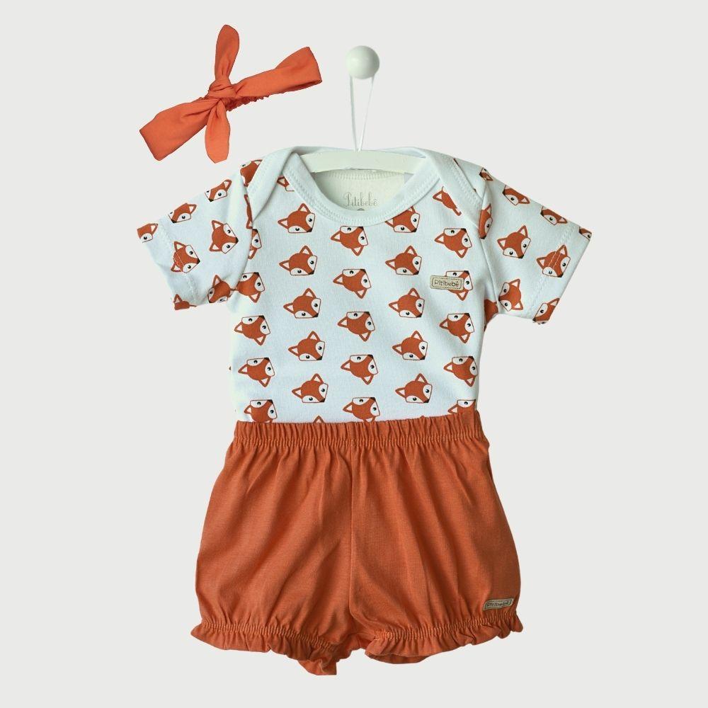 Conjunto Bombacha 3 Peças Suedine Fio Egípcio Fox Baby Laranja