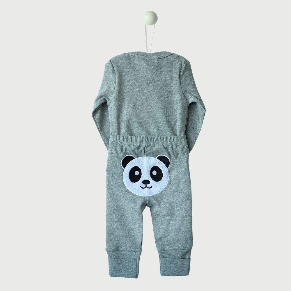 Conjunto Bumbum Bordado 3 Peças Suedine Fio Egípcio Panda Cinza Mescla