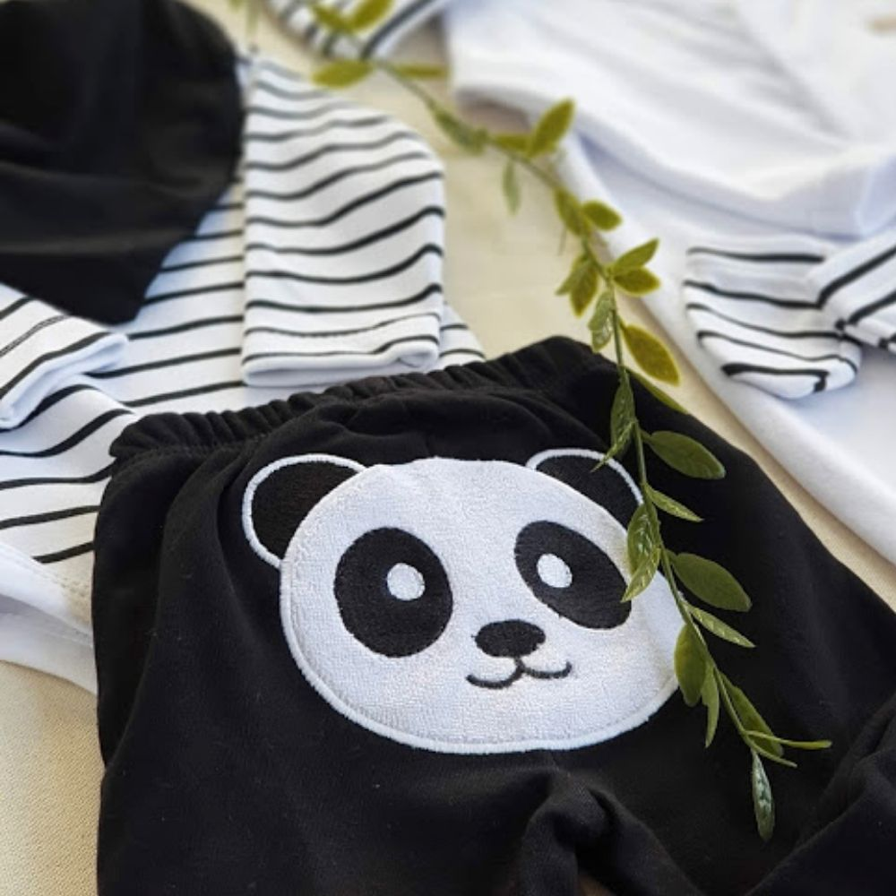 Conjunto Bumbum Bordado 3 Peças Suedine Fio Egípcio Panda Preto