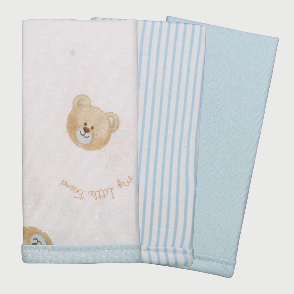 Conjunto Paninhos De Boca 3 Unidades Malha Teddy Azul