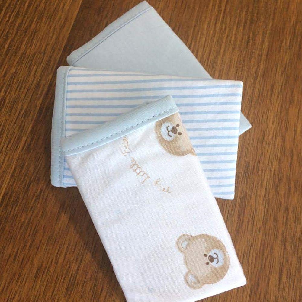 Conjunto Paninhos De Boca 3 Unidades Malha Teddy Azul  - Pitibebê