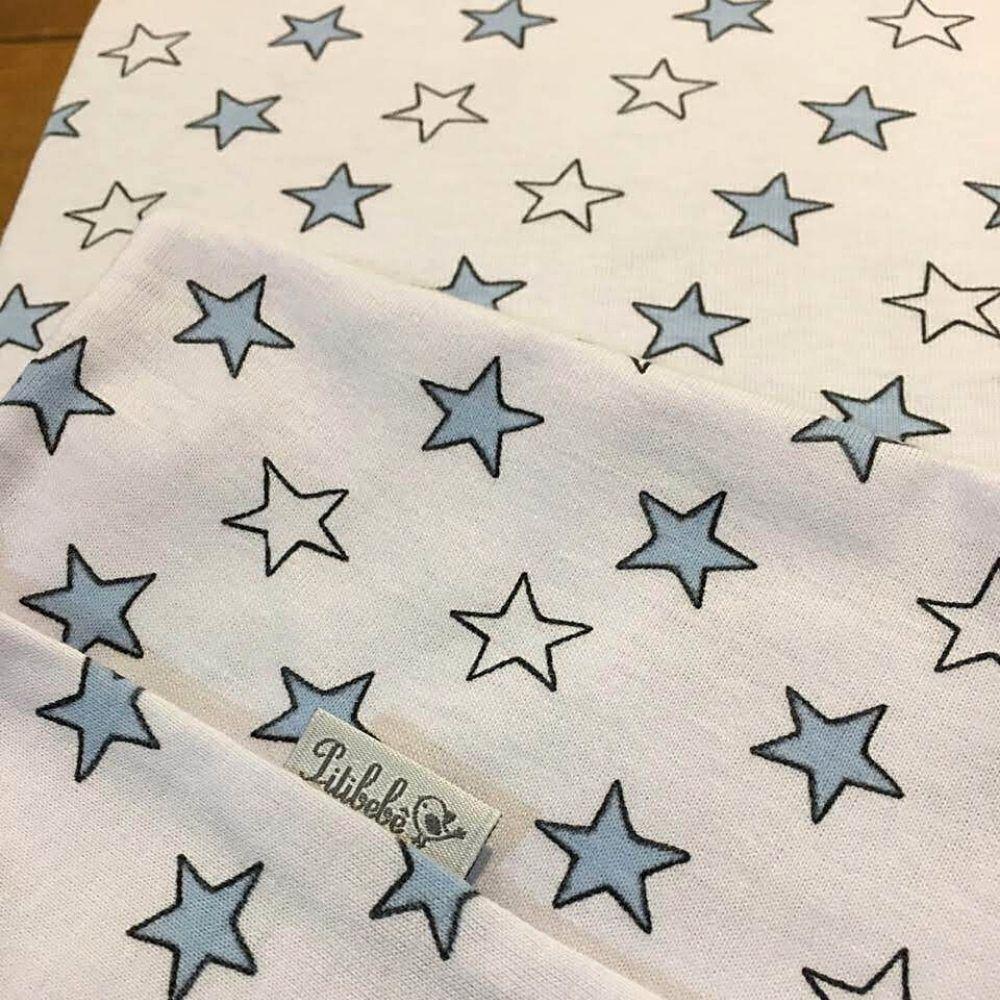 Jogo De Lençol Para Berço 2 Peças Malha Estrela Azul