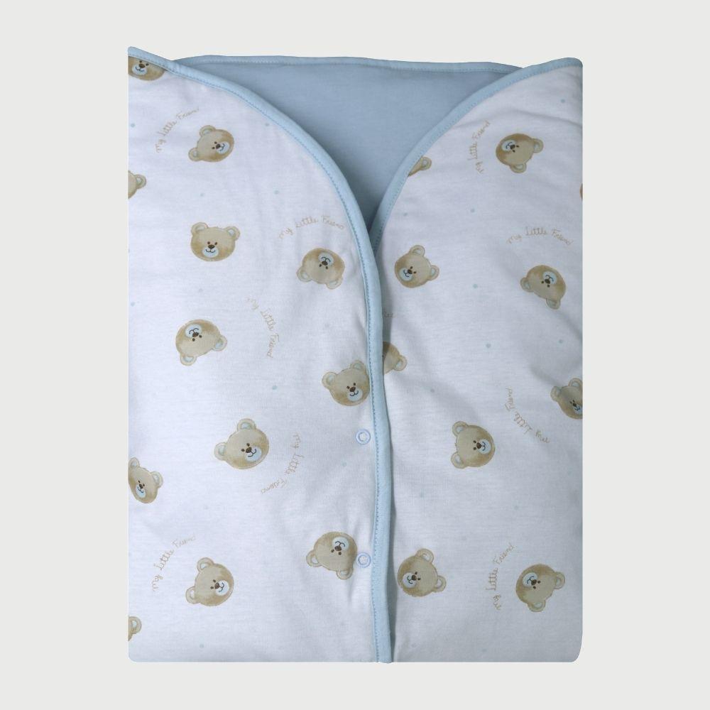 Porta Bebê Malha Teddy Azul