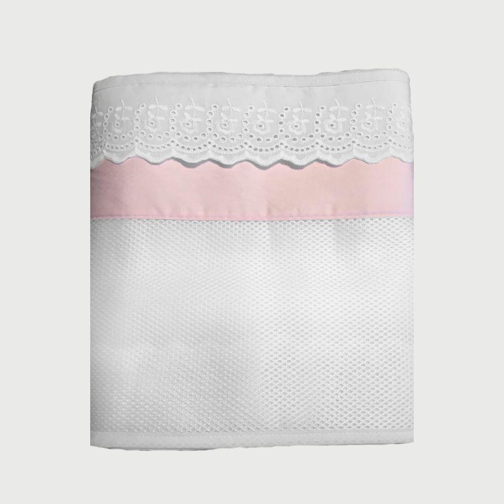 Protetor Telado Para Laterais Do Berço Com Bordado Inglês Rosa