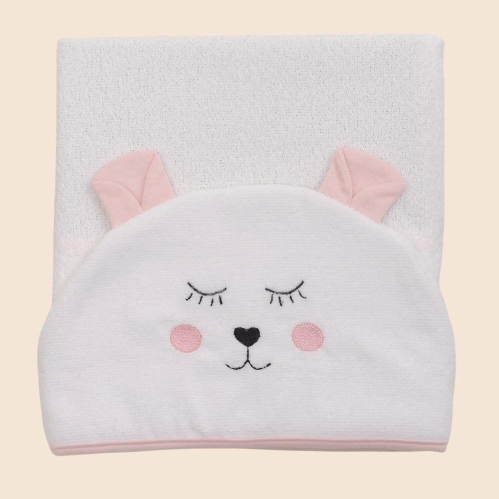 Toalha De Banho Com Capuz Bichos Bunny Rosa