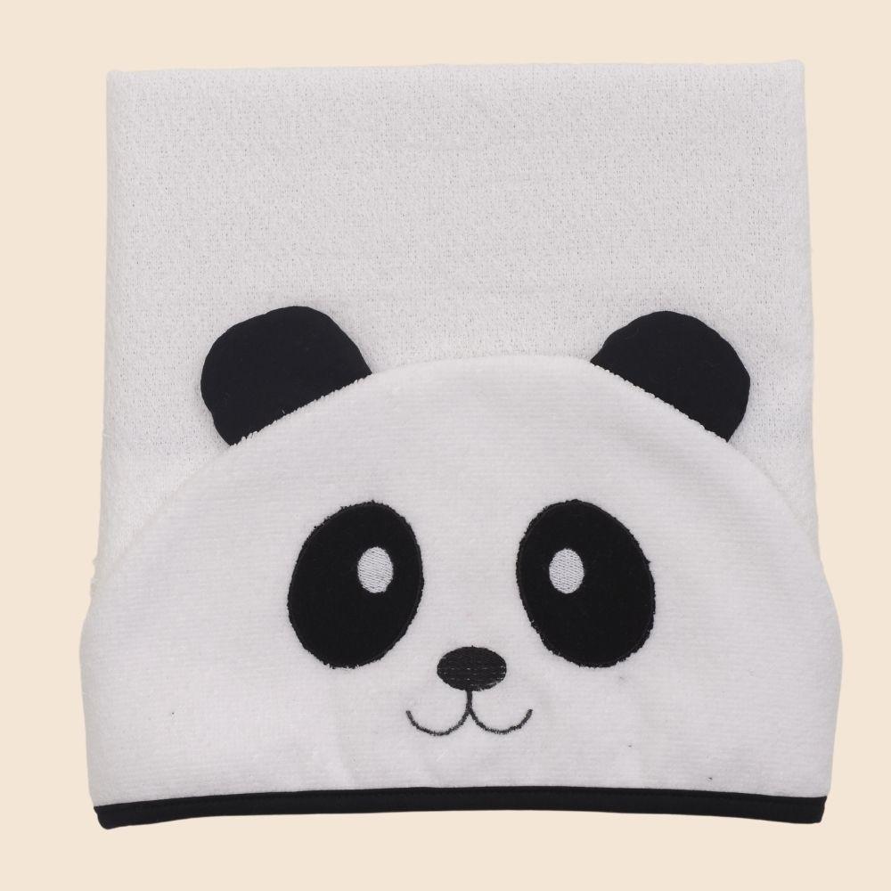 Toalha De Banho Com Capuz Bichos Panda Preto