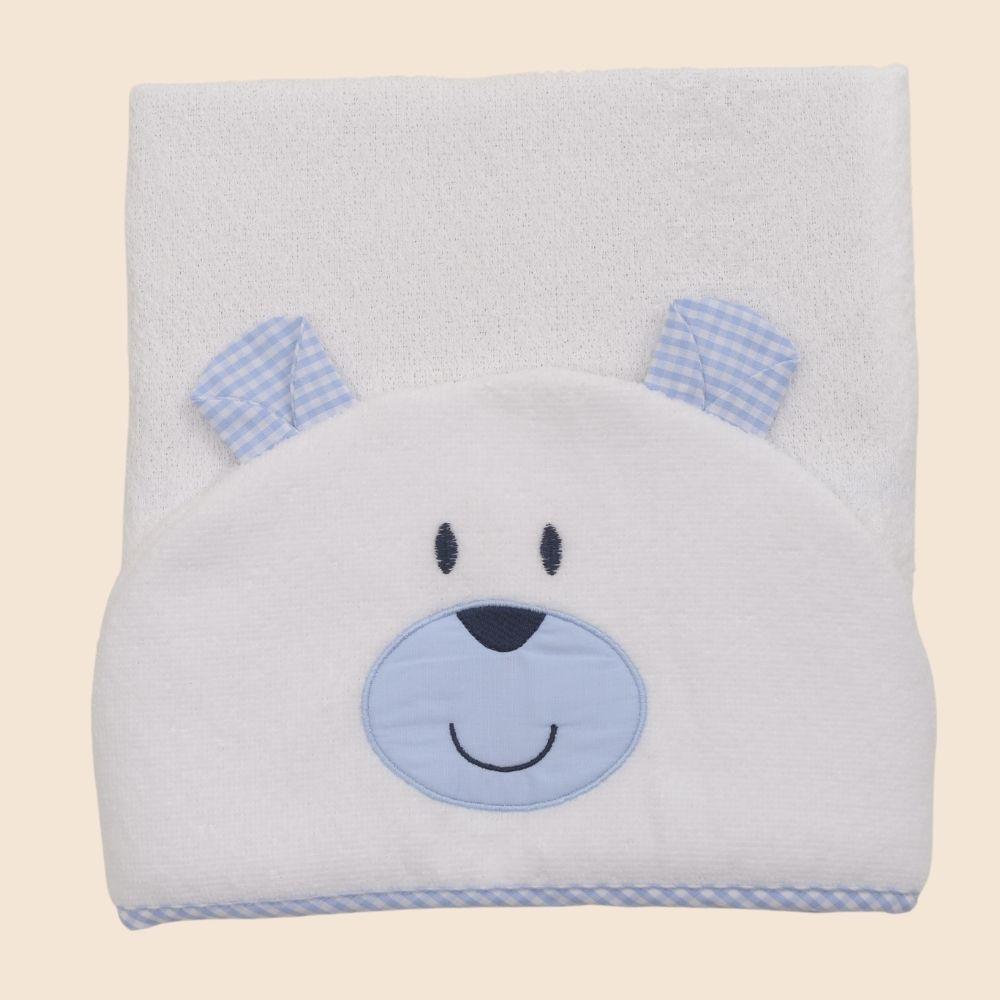 Toalha De Banho Com Capuz Bichos Urso Azul