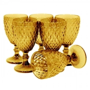 Conjunto Taças para Água de Vidro Bico de Abacaxi Ambar 6 peças