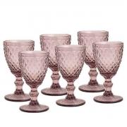 Conjunto Taças para Água de Vidro Bico de Abacaxi Lilas 6 peças