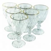 Conjunto Taças para Água de Vidro com Fio de Ouro Diamond Transparente 6 peças