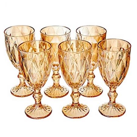 Conjunto Taças para Água de Vidro Diamond Ambar Metalizado 6 peças