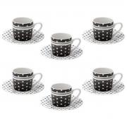 Conjunto Xícaras para Café com Pires de Porcelana Black Dots 6 peças