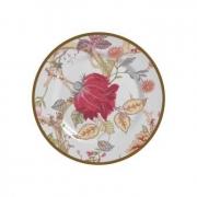 Jogo de Prato Sobremesa China Flowers Branca 6 peças