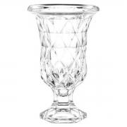Vaso Diamond de Vidro com Pé