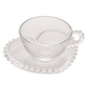 Xícara para Chá com Pires de Cristal Coração