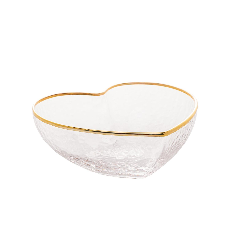 Bowl de Vidro com Borda Dorada Heart