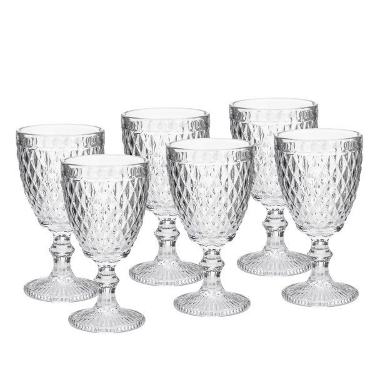 Conjunto Taças para Água Bico de Abacaxi Transparente  6 peças