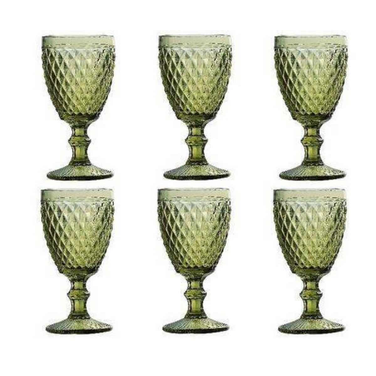 Conjunto Taças para Água de Vidro Bico de Abacaxi Verde 6 peças