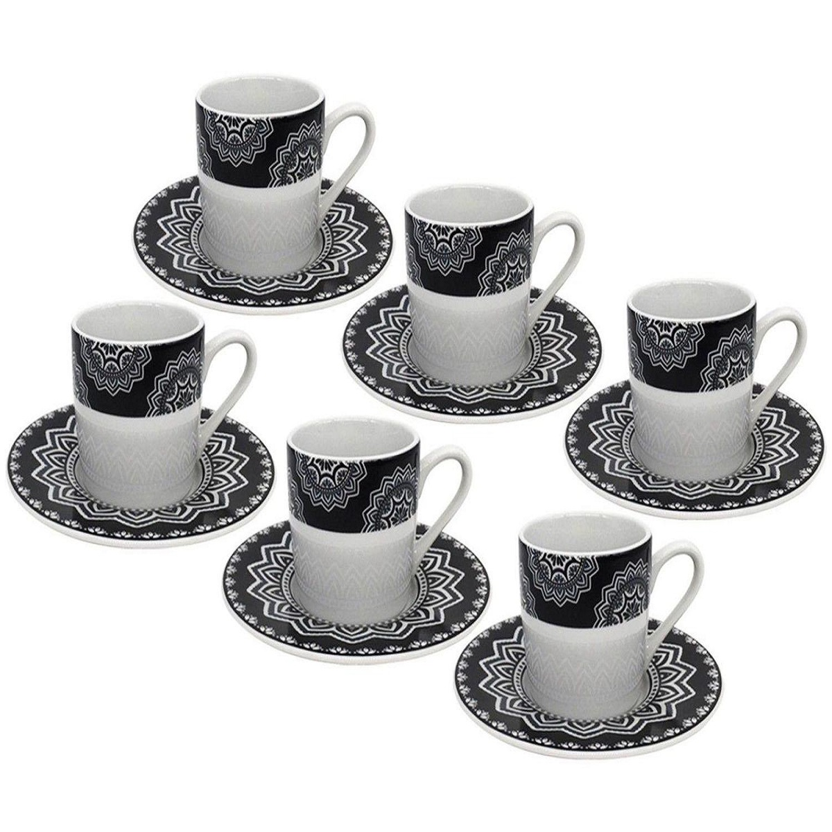 Conjunto Xícaras para Café com Pires de Porcelana Mandala 6 peças
