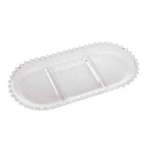 Petisqueira de Cristal com 3 Divisões Oval Pearl