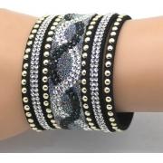 Pulseira de Courino e Cristal Personalidade Charm Bracelet Tamanho 18/20