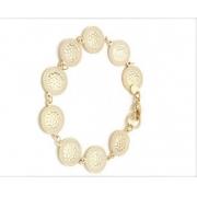Pulseira Folheada a Ouro 18k fina com detalhes com pequenas Medalhas - 18 cm