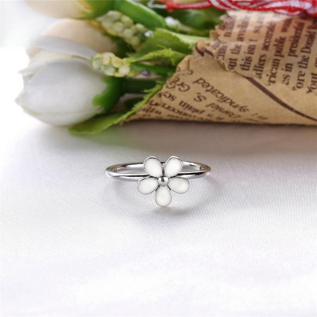 Anel de Prata 925 Flor de Magarida Branca